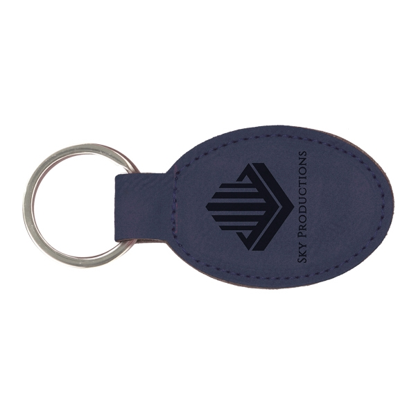 Leatherette Oval Keychain - Blue