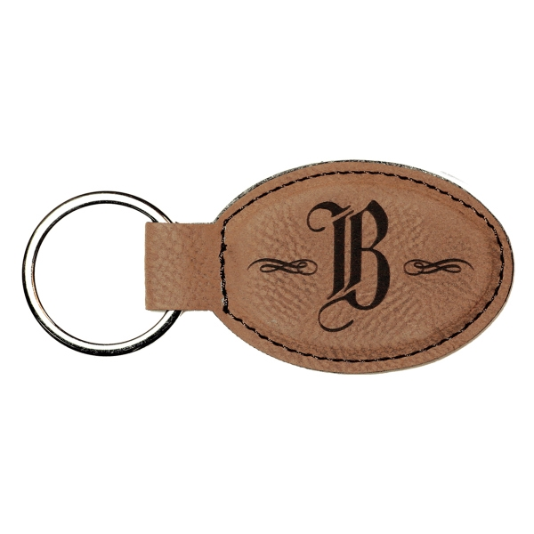 Leatherette Oval Keychain - Dark Brown