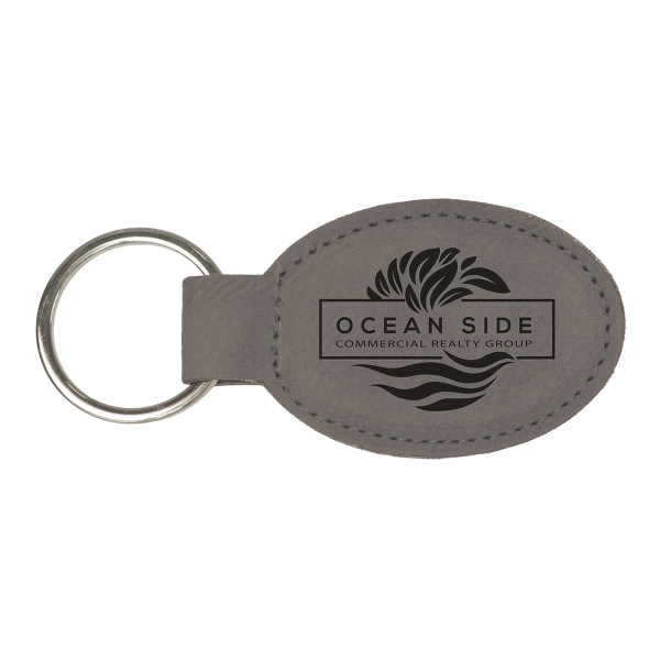 Leatherette Oval Keychain - Gray