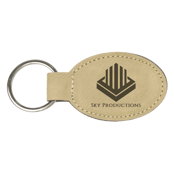 Leatherette Oval Keychain - Light Brown