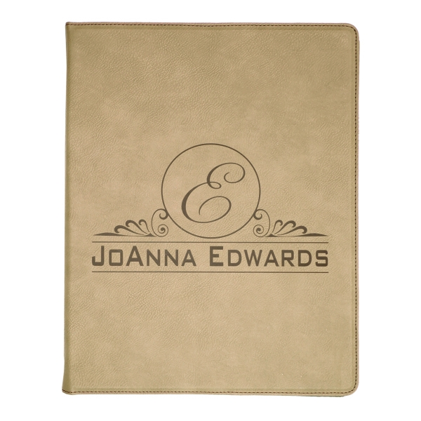 Leatherette Portfolio with Notepad (lrg) - Light Brown