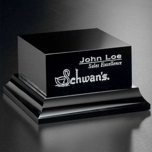 Black Glass Base  Square Tiered
