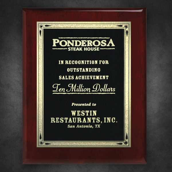 Aberdeen Rosewood Plaque 6 x 8 with Lasered Plate