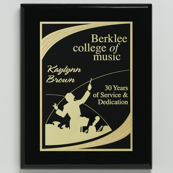 Aberdeen Black Plaque 6 x 8 with Lasered Plate