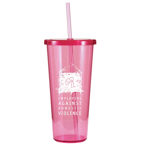 24 Oz. Single Wall Tumbler W/ Straw