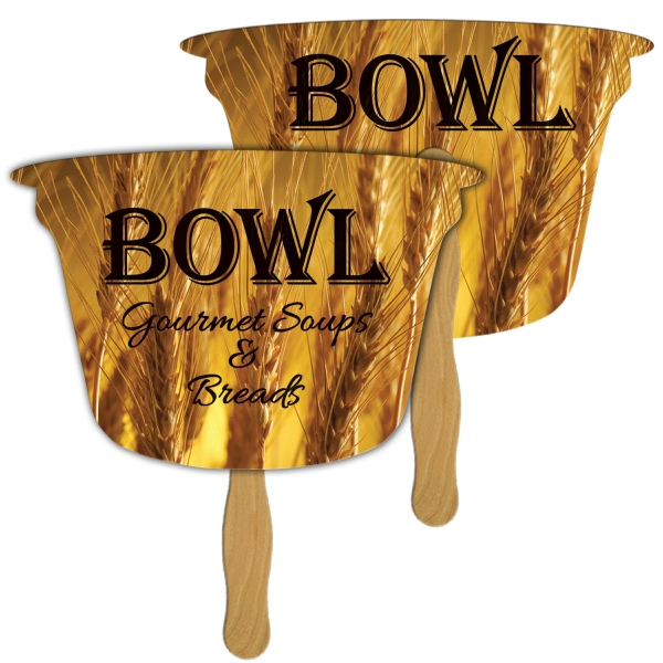 Digital Bowl Fast Fan w/ Wooden Handle & 2 Side Imprint
