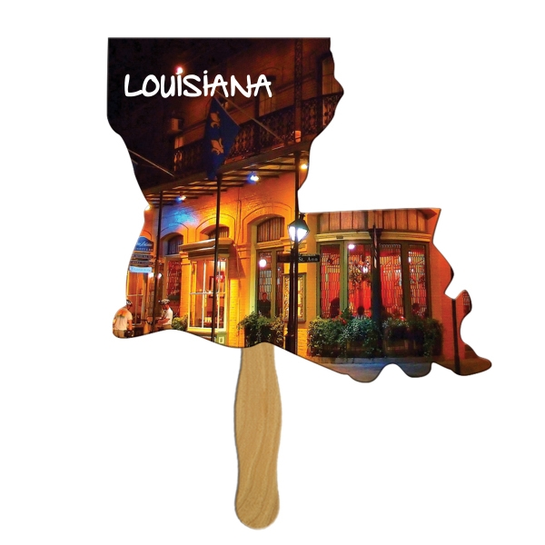 Louisiana State Fast Fan w/ Wooden Handle & Front Imprint