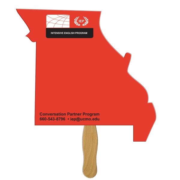 Digital Missouri State Fast Fan w/ Wooden Handle