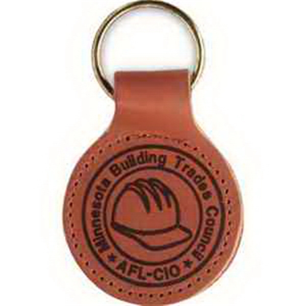 Round Top Grain Leather Key Fob