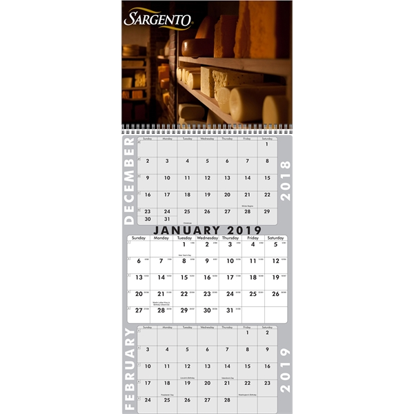 3 Month Calendar (Custom Top Panel - Single Sheet Pad)