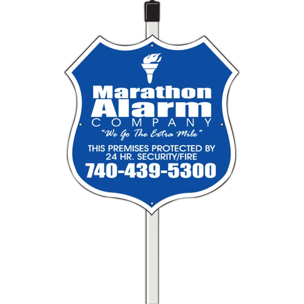 "Polyethylene Shield/ Badge Security Yard Sign (0.055"" Thick)"