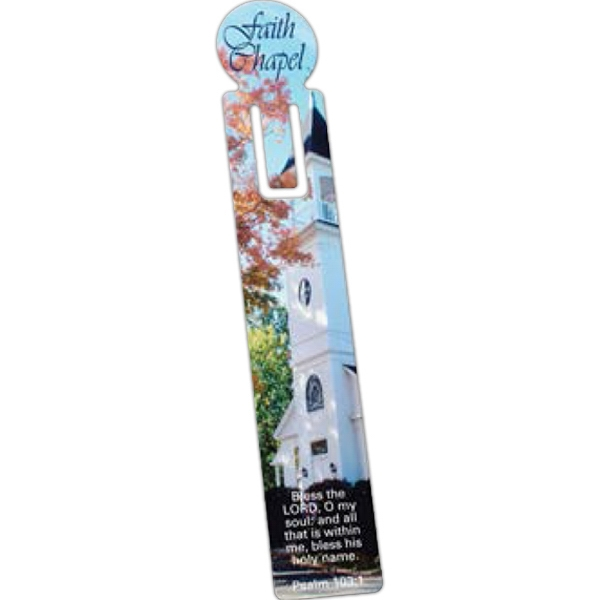 Full Color Vinyl Plastic Bookmark w/ U Slot & Circle Top