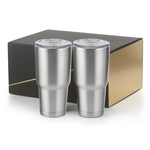 2- 30 oz  stainless copper lined Tumblers Big Joe Gift Set