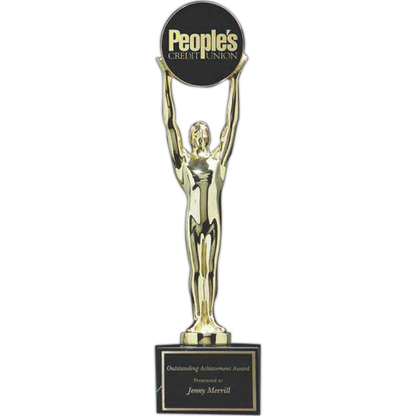 Imprinted Champion Gold-plated Award with Black Marble Base