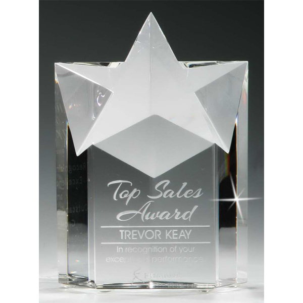 Customized Star Pillar Optical Crystal Award