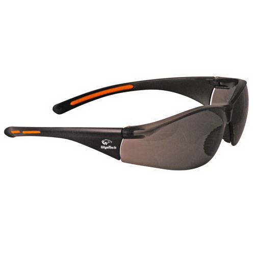 Imprinted Lightweight wrap around safety glasses with nose piece