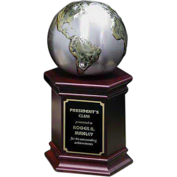 Personalized Globe Award of Cast Metal with Mahogany-Finish Walnut Base