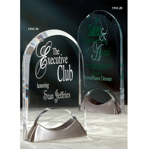 Imprinted Keystone Acrylic Award with Satin Nickel Base