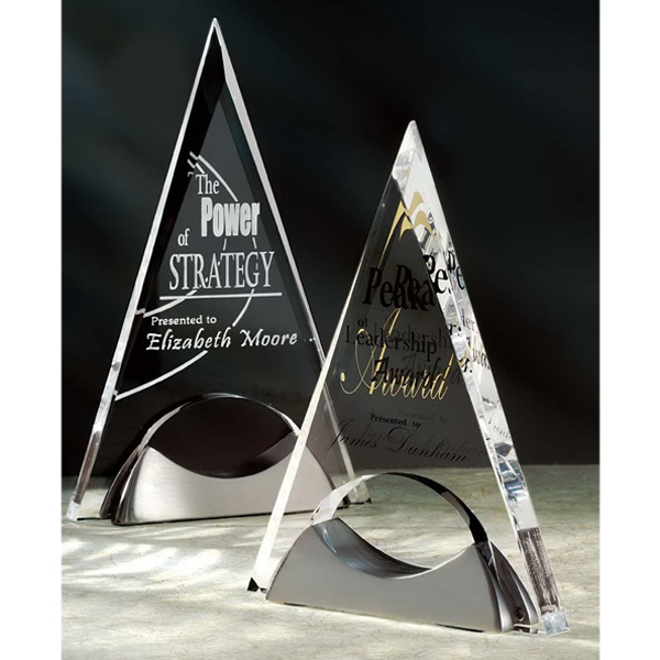 Imprinted Pyramid Acrylic Award with Satin Nickel Base