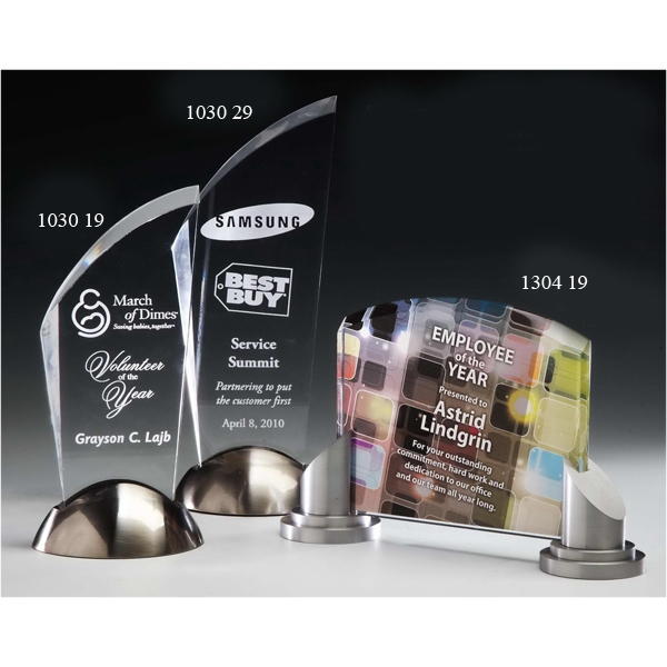 Customized Stylus Acrylic Award with Satin Nickel Base