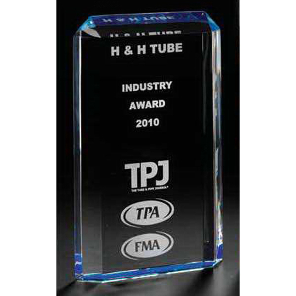 Promotional Paragon Acrylic Award with Ice Blue Mirrored Reflector