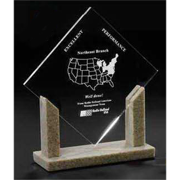 Personalized Diamond Acrylic Award with Stonecast (TM) Base