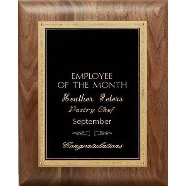 Promotional Hand Rubbed Walnut Wall Plaque- Black Elegance