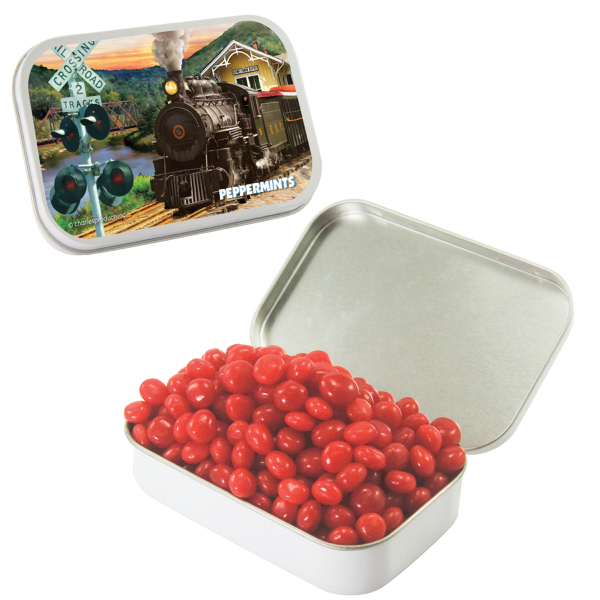 Large White Mint Tin with Cinnamon Red Hots