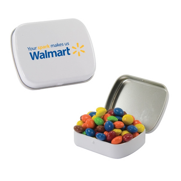 Small White Mint Tin with Chocolate Littles Candy