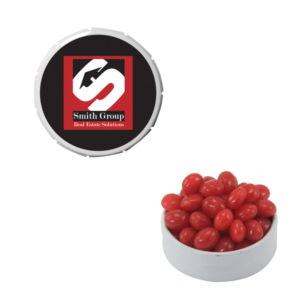 Personalized Small White Snap-Top Mint Tin with Cinnamon Red Hots