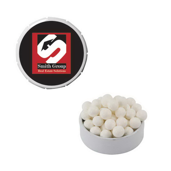 White Snap-Top Mint Tin with Breat Mints - Breath Fresheners