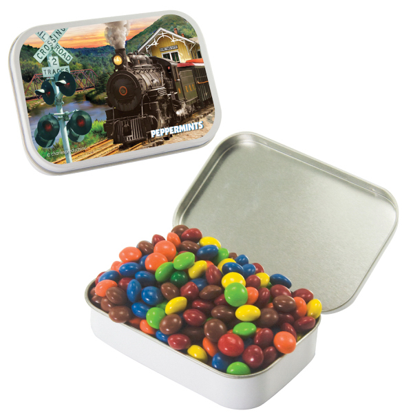 Large White Mint Tin with Chocolate Littles