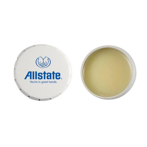 Personalized Lip Balm Snap Top Tin - White