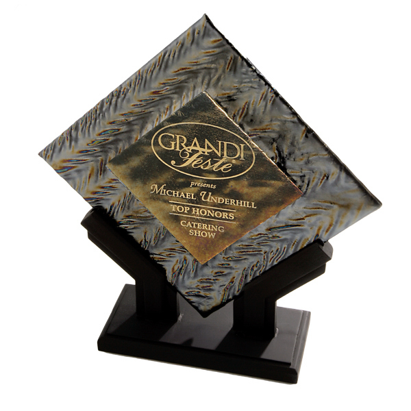Imprinted Fusion Plate Art Glass Award with Stonecast (TM) Base