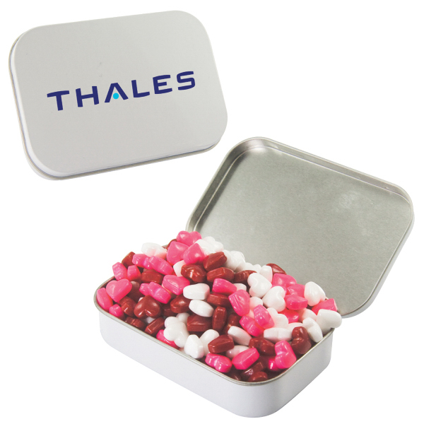 Large White Mint Tin with Candy Hearts