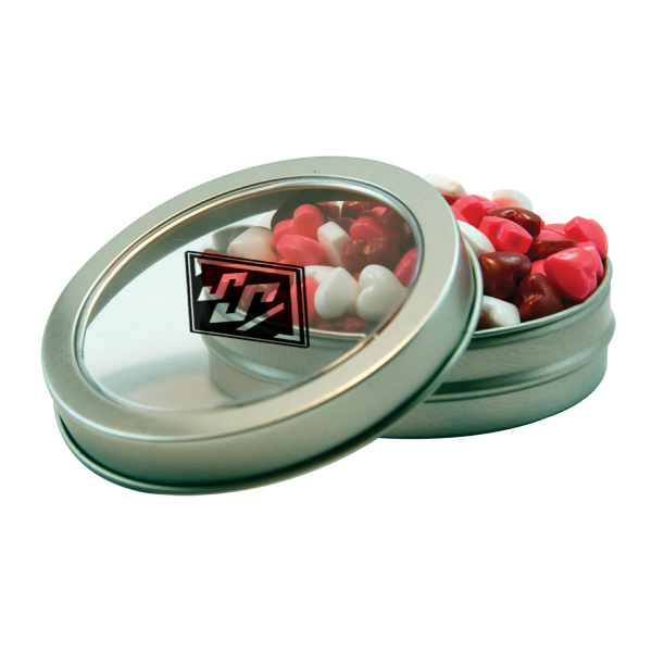 Silver Short Round Tin with Candy Hearts