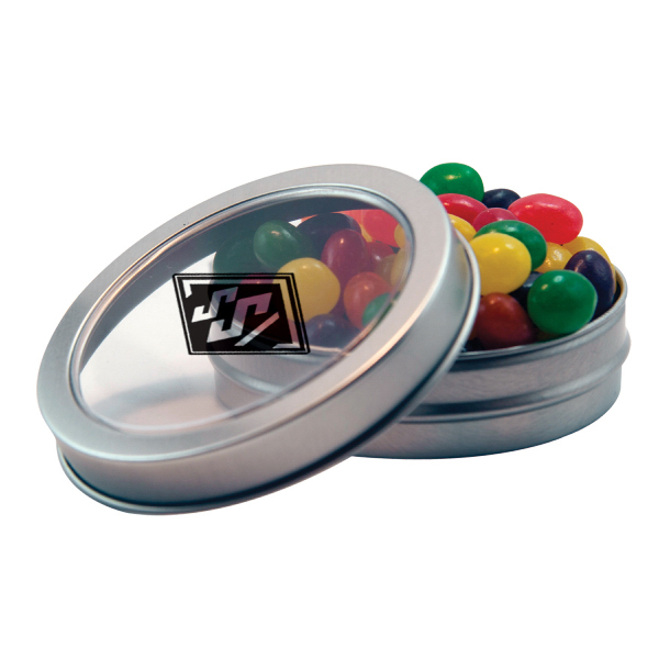 Silver Short Round Tin with Jelly Beans