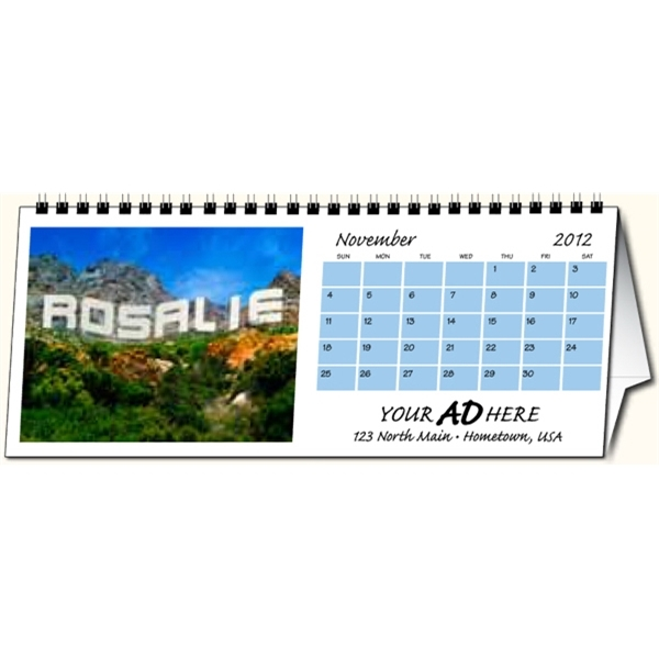 In the image personalized desk calendar