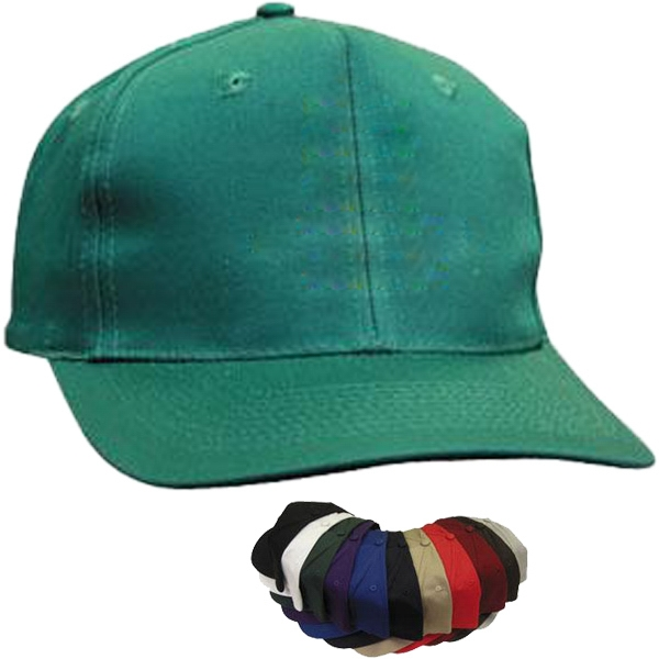 6-panel pro-style cotton twill cap in solid color