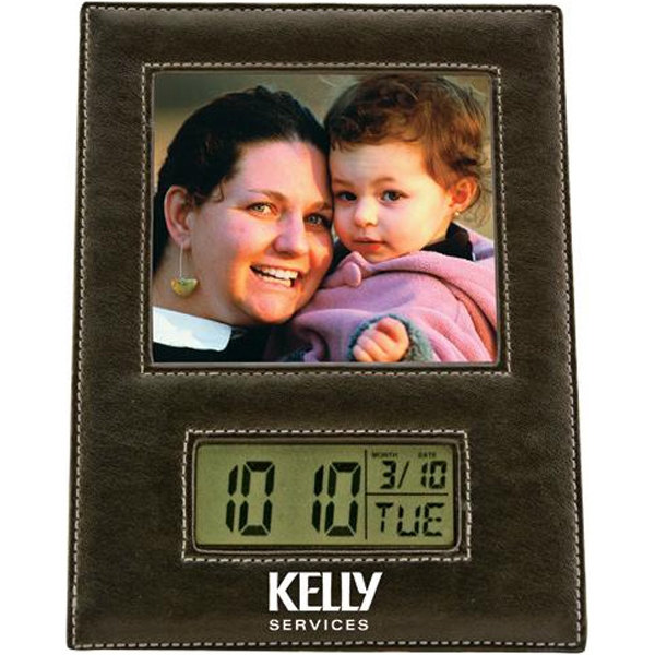 Leather photo frame with LCD clock