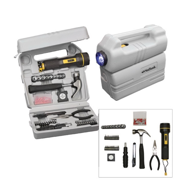 126-piece tool set with LED flashlight and carrying case