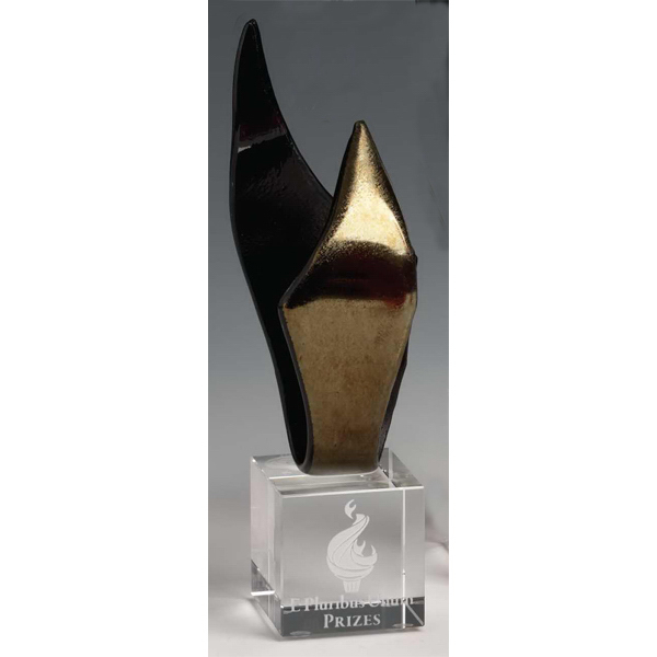 Promotional Gold Blaze Art Glass Award & Optical Crystal Base