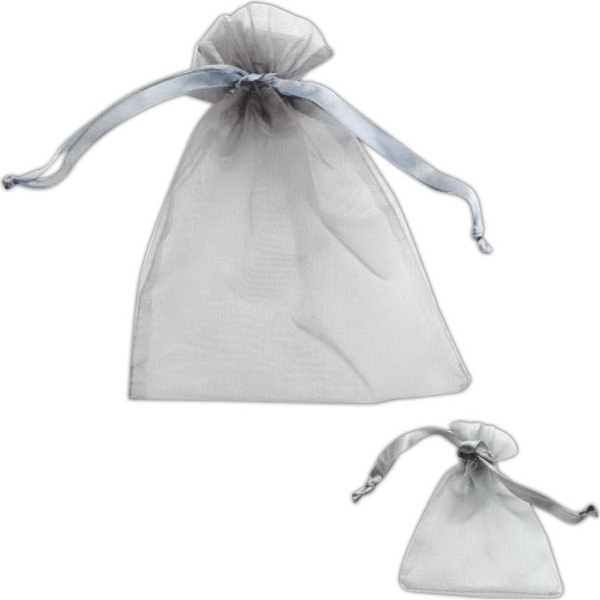 Customized Gray Organza Pouch