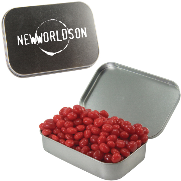Large Silver Mint Tin with Cinnamon Red Hots