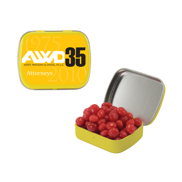 Small Yellow Mint Tin with Cinnamon Red Hots