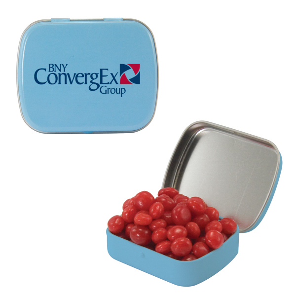 Small Light Blue Mint Tin with Cinnamon Red Hots