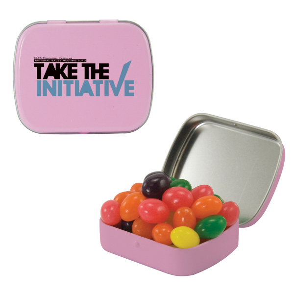 Small Pink Mint Tin with Jelly Beans