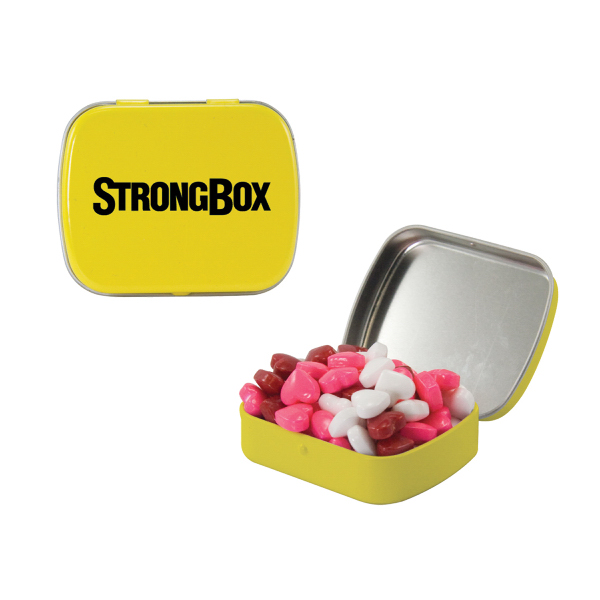 Small Yellow Mint Tin with Candy Hearts