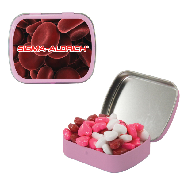 Pink Mint Tin with Candy Hearts - Breast Cancer Awareness