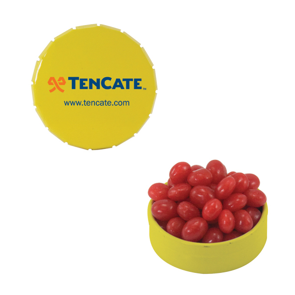 Printed Small Yellow Snap-Top Mint Tin with Cinnamon Red Hots